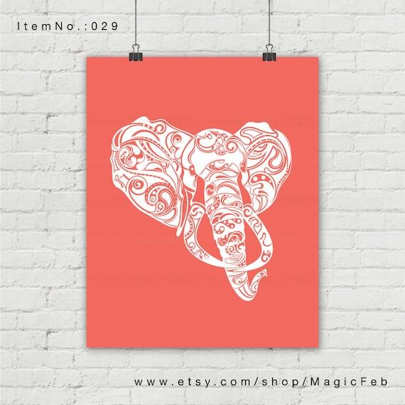 Elefante de impresión. Impresión 5 x 7 8 x 10 11 x 14 13 x