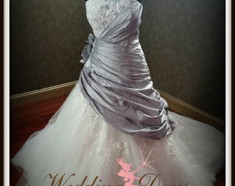 Gorgeous SIimming Silver Wedding Dress Custom Made to your Measurements by Award Winning Bridal Salon in Teaneck, NJ
