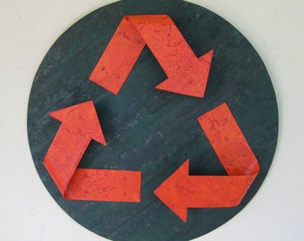 Metal Wall Art Recycle Symbol Indoor Outdoor Reclaimed Metal Wall Decor Orange Green 16 Inches