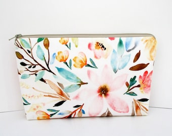 Cosmetic Bag, Make Up Zipper Pouch, Mae Floral Indy Bloom, Pale Pink Watercolor Floral, The Pretties, Bridesmaid Gift