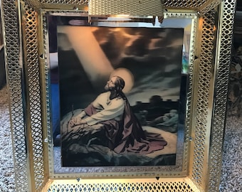 Framed Jesus Hologram picture//  Vintage Religious Picture// Religious Decor