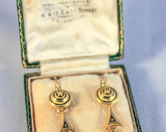 French Belle Époque 18ct gold, amethyst, pearl and enamel earrings