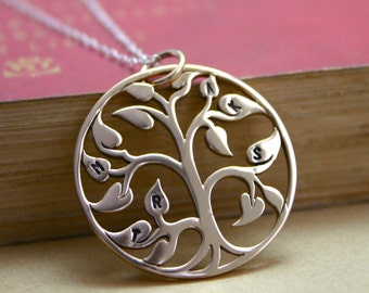 The Original Bronze Personalized pendant family tree necklace - Stamped initial family tree of life - hand stamped jewelry