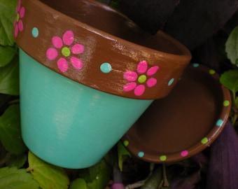 Peint des Pots de fleurs - ensemble de cinq - herbe planteurs - pot de plantes grasses