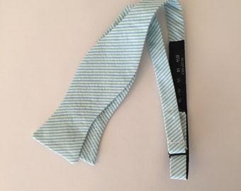 Men and Teen's Blue and Green Seersucker Bow Tie
