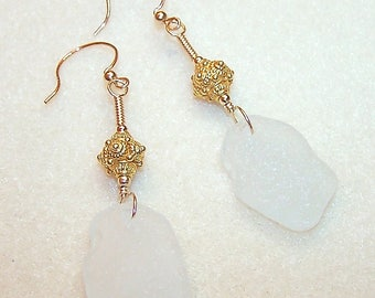 Genuine Sea Glass Earrings 3 Inch Long Gold Dangle White Beach Glass Handmade Jewelry for Her