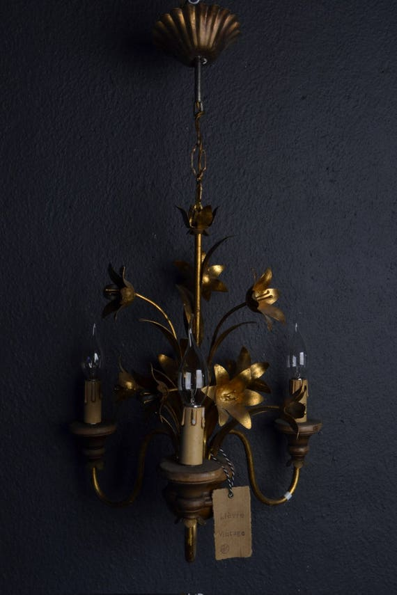 Beautiful vintage golden tole Flower Chandelier with wood