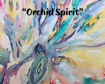 Orchid Spirit original watercolor framed art orchid art and flower art