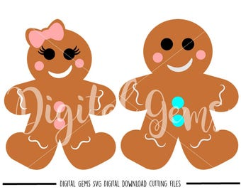 Ginger bread man and girl svg / dxf / eps / png files. The files work well with Silhouette and Cricut. Digital Download. Commercial use ok.
