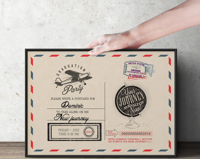 Post card, table sign, Time Capsule, Precious Cargo, Oh The Places You Will Go  • Dr. Seuss Baby Shower, vintage airplane,
