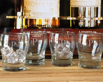 Monogrammed Whiskey Glasses, Scotch Glasses, Gift for Boyfriend, Personalized Rocks Glasses, Etched Rocks Glasses, Gifts for Men