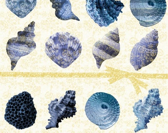 Digital Clip Art Seashells, Shell Digital Clip Art, Clip Art Commercial Use, Blue and Gold Seashells, png Shells, Clip Art Planners, #14118