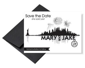 New York City Skyline Save the Date Invitation / NYC Invitation / Skyline Invitation
