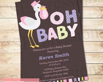 Oh Baby Girl Stork Baby Shower Invitation