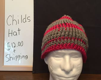 Pink and gray stripe childs winter hat