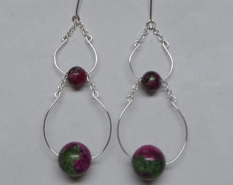 Ruby Zoisite Hoop Earrings Sterling Silver .925 100% Hand Crafted Spring