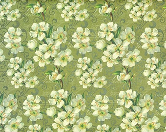 Almond blossom wrapping paper with delicate golden print
