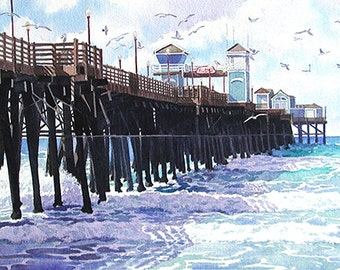 Surf View Oceanside Pier California by Mary Helmreich