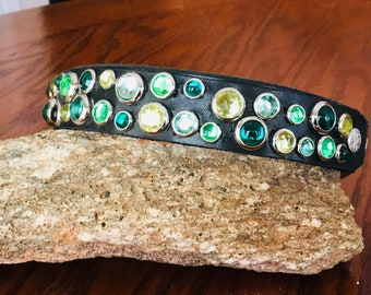Green Jeweled – Multiple Shades of Green Colored Stones – K9 Dog Collar - shown on Black Leather