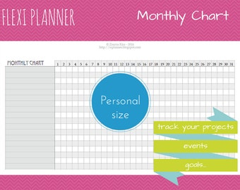 Monthly Chart | Flexi planner | Personal size Filofax inserts  | TN | Mothly planning | instant download | arc ringbound discbound
