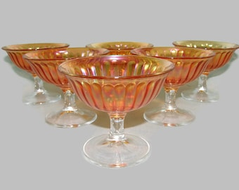 6 Imperial Glass Smooth Rays Tall Sherbets, Marigold Iridescent Carnival Glass Champagne