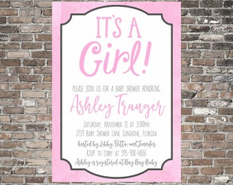 It's a Girl! Baby Shower Invitation ~ Pink and Grey ~ Sweet ~ Simple ~ Printable ~ Personalized
