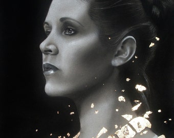 Carrie Fisher Prints - Multiple sizes - Princess Leia, Star Wars - Original charcoal portrait with Goldleaf - Print of original