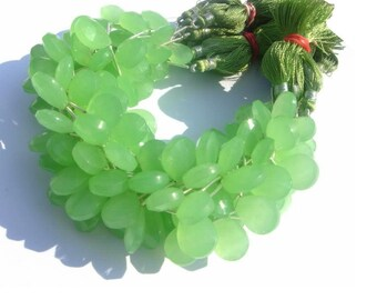 8 Inches - Apple Green chalcedony Faceted Pear Briolette Size 16x12mm approx 13 Pcs 6 Matched Pair N a Focal Brio
