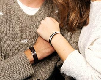 Hochzeit Geschenk personalisierte Paare Armbänder Verlobten paar personalisierte Mann Frau Geschenk passende Leder-Armband-paar-Geschenk