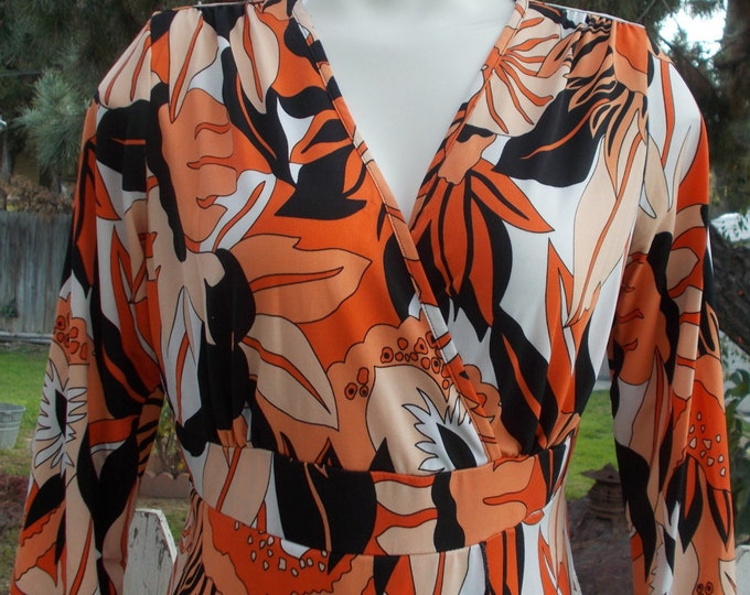 Vintage 90s Psychedelic Black Orange White Polyester Floral Leaf Casual Career Womens 3/4 Sleeve Pullover Blouse Top S/M
