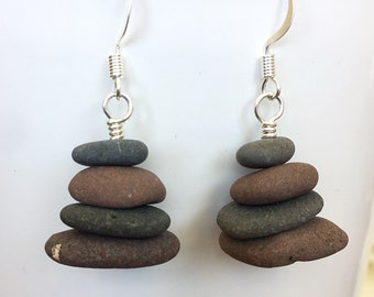 Lake Superior stone cairn earrings, stone cairn earrings, stacked beach rock earrings, stacked beach stone earrings, cairn earrings