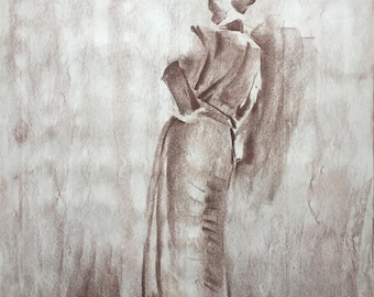 Woman in Kimono Robe Pastel Drawing, One of A Kind