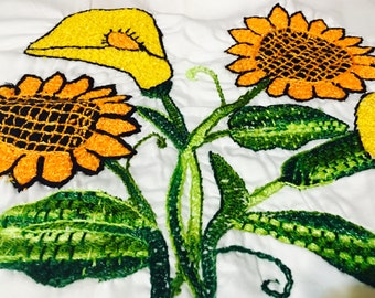 2 Set of Embroidered Sunflower Cloth