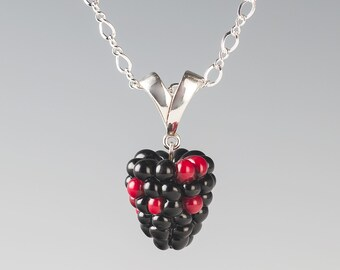Blackberry Necklace Pendant Style lampwork bead fruit jewelry hand blown glass art Birthday gift, Mother's Day gift for gardener, cook, chef