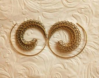 Sprial earrings, Tribal Brass Earrings, Brass Earrings, Boho Earrings. Gypsy Earrings. Ethnic Earrings. Festival jewelry, hippie Boho chic