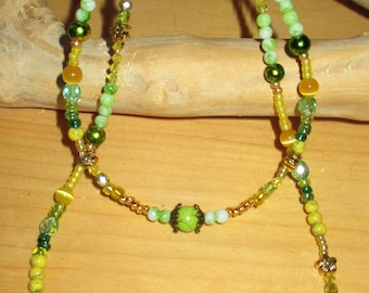 """18""""ag doll jewelry, doll/child's yellow and green necklace set,  childs yellow and green necklace"""