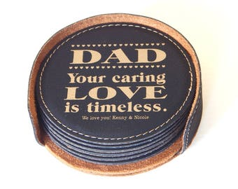 Gift for Dad - Father's Day Gifts - Personalized Fathers Day Coasters from Daughter - Son - Dad Birthday Gift, CAS019