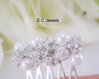 SHOP SALE Small Rhinestone Comb with Pearl Accents