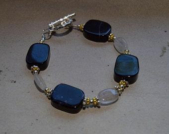 Onyx & Turmilated Quartz Bracelet