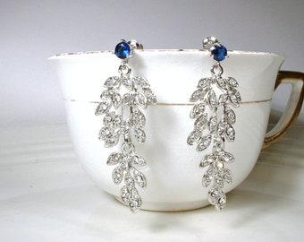 Art Deco Sapphire Earrings, Rhinestone Leaf Navy Blue Bridal Dangle Earrings Silver Drop Flapper Earrings 1920 Gatsby Wedding Vintage Long