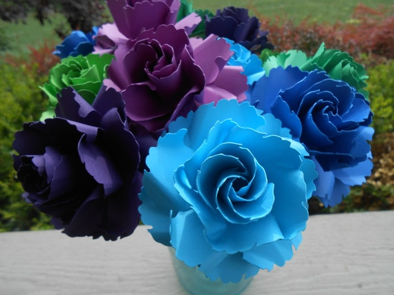 12 Peacock Wild Roses. Or CHOOSE YOUR COLORS. Centerpiece, Wedding, Paper Flower Bouquet, First Anniversary
