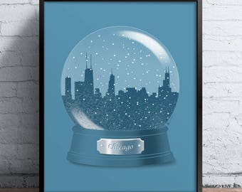 Chicago Snow Globe Print
