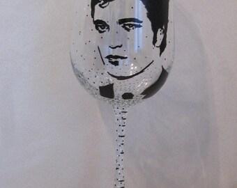 Hand Painted Wine Glass - ROBERT PATTINSON, Actor, Model, Musician