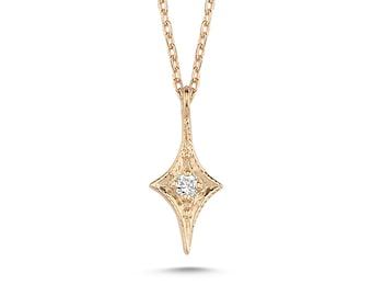 Minimalist Diamond North Star Necklace, Starburst Necklace, Tiny Star Necklace, Gold Star Necklace, Diamond Star Necklace, Dainty Necklace,