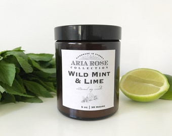 Wild Mint & Lime Scented Soy Candle - 5 oz