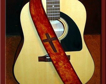 CHRISTIAN CROSS Design • A Beautifully Hand Tooled, Hand Crafted Leather Guitar Strap