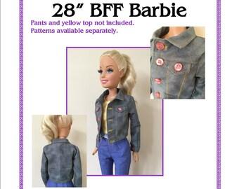 Denim Jacket Pattern to fit 28in Best Fashion Friend Barbie