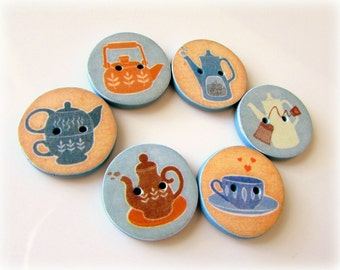Coffee Buttons - Tea Buttons - Time for a cuppa? - Handmade in Australia - Handcrafted Buttons - Cute Buttons - Blue Buttons - Brown Buttons
