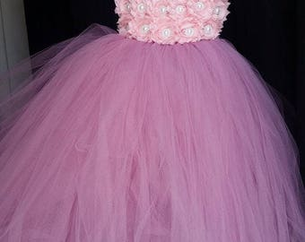 Flower girl dress - Tulle flower girl dress -Light Pink Dress - Tulle dress-Infant/Toddler -Pageant dress - Princess dress-Rose flower dress