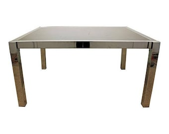 Mid-Century Danish Modern Milo Baughman DIA Chrome Extension Dining Table